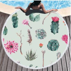 Serviette de plage ronde fleurs de cactus vert