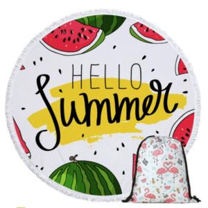 Serviette de plage ronde pastèque Hello Summer + sac