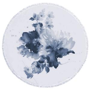 Serviette de plage ronde à fleurs abstrait