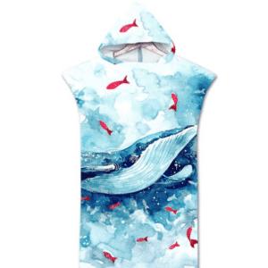 Serviette de plage pour enfant baleine bleue