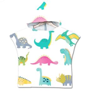 Serviette de plage pour enfant dinosaure blanc