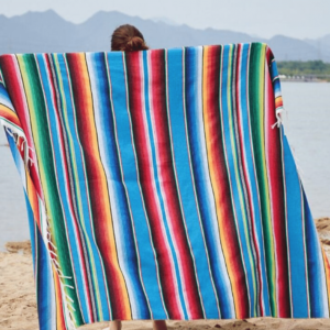 Serviette de plage XXL péruvienne bleu