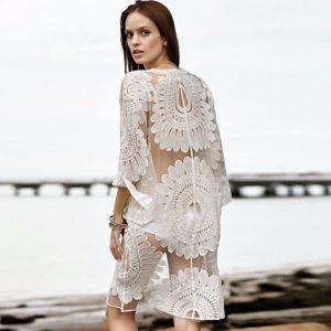 Kimono de plage en dentelle blanche dos