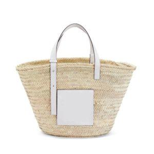 Panier de plage en paille et cuir blanc