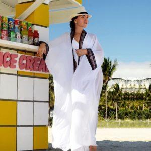 Paréo de plage long façon kimono blanc