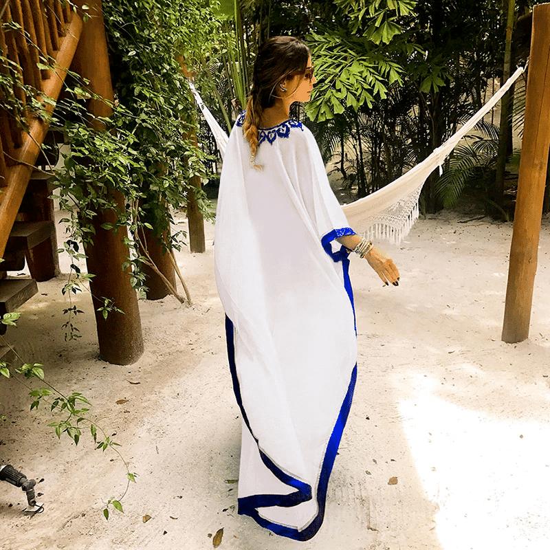 Paréo pour femme style oriental blanc dos