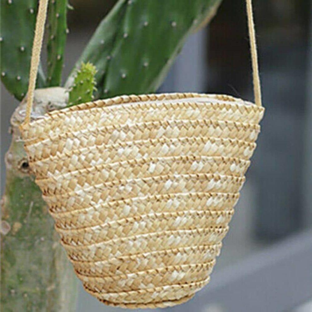 Petit sac de plage en paille à bandoulière 2