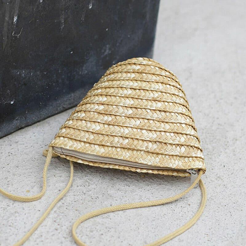 Petit sac de plage en paille à bandoulière
