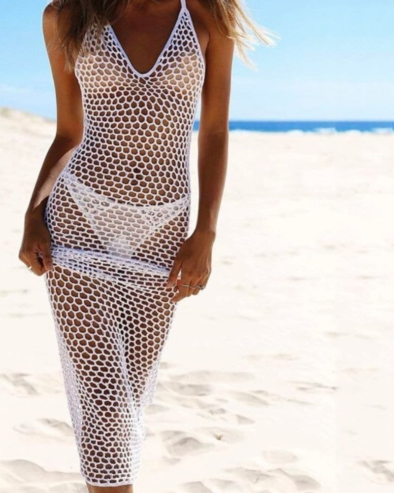 Robe de plage en grande maille blanc