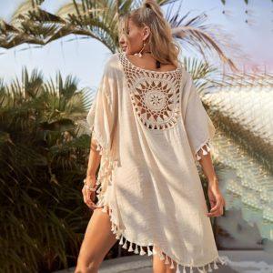 Robe de plage unie au motif attrape rêve dos