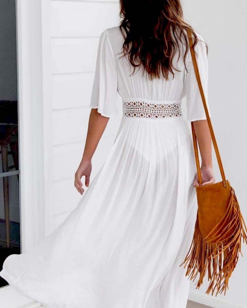 Robe longue paréo avec ceinture en dentelle blanc dos