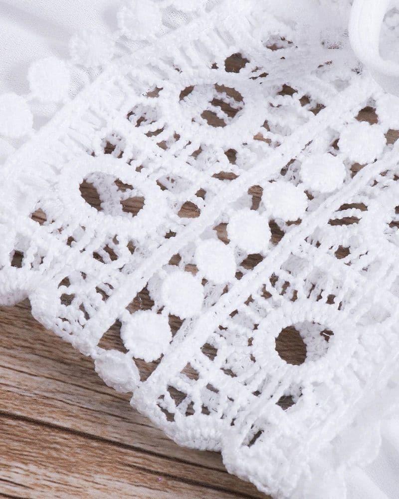 Robe longue paréo avec ceinture en dentelle detail