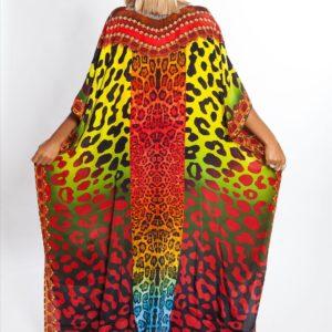 Robe paréo africain avec imprimé coloré dos