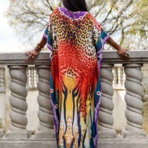 Robe paréo africain avec imprimé léopard dos 3