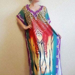 Robe paréo africain avec imprimé léopard