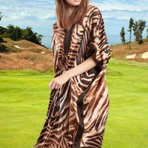 Robe pareo africain avec imprimé zèbre marron 2