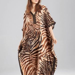Robe pareo africain avec imprimé zèbre marron