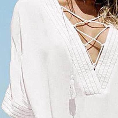 Robe paréo de plage à lacet col en V detail