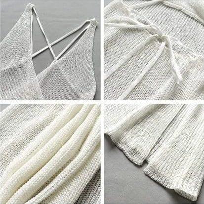 Robe paréo longue en tricot detail