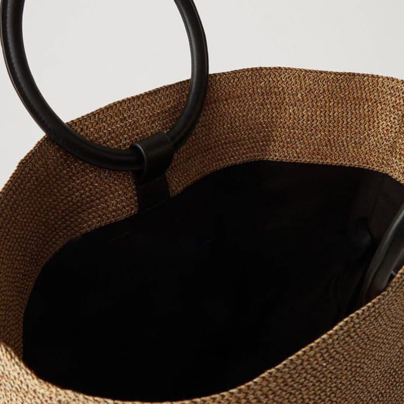 Sac de plage en paille anses rondes détail interieur