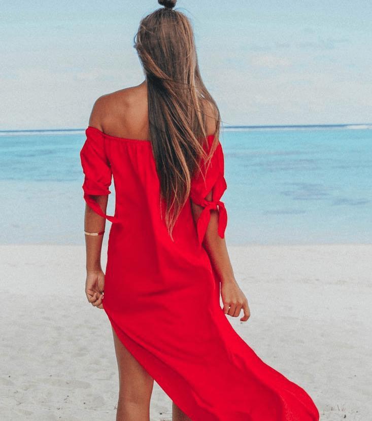 Robe de plage à épaules dénudées rouge dos