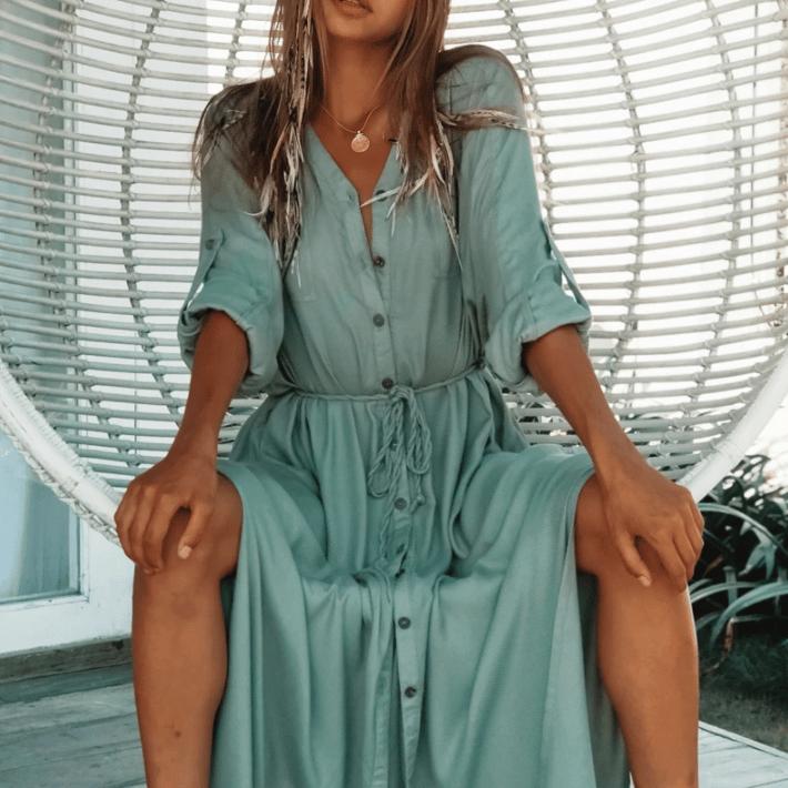 Robe de plage longue style chemisier bleu