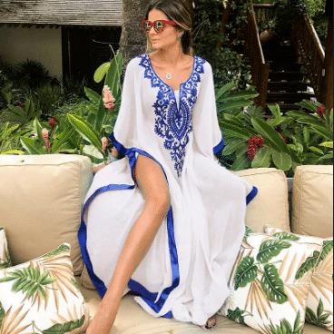 Paréo pour femme style oriental blanc
