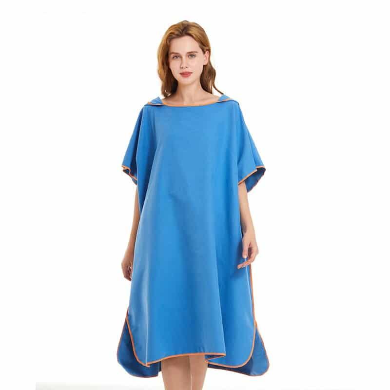 Serviette de plage à capuche bleu