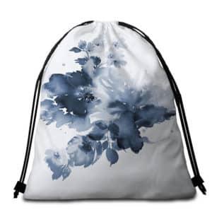 Serviette de plage ronde à fleurs abstrait sac