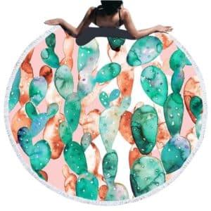Serviette de plage ronde cactus