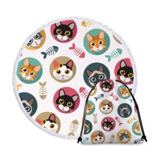 Serviette de plage ronde chat mignon+ sac