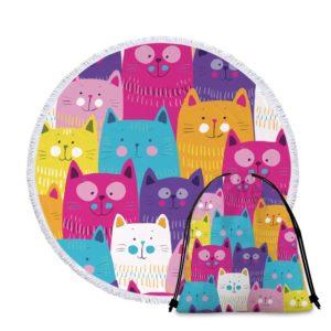 Serviette de plage ronde chat + sac