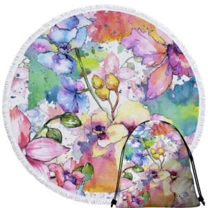 Serviette de plage ronde fleurs aquarelle + sac