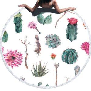 Serviette de plage ronde fleurs de cactus blanc