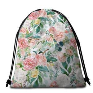 Serviette de plage ronde fleurs de printemps sac