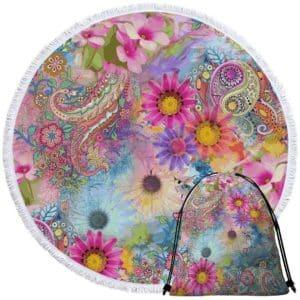 Serviette de plage ronde fleurs et mandala + sac