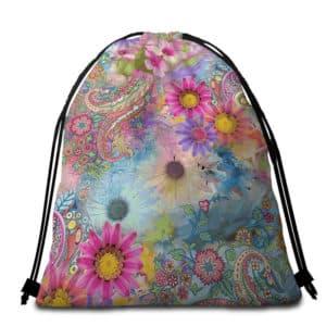Serviette de plage ronde fleurs et mandala sac