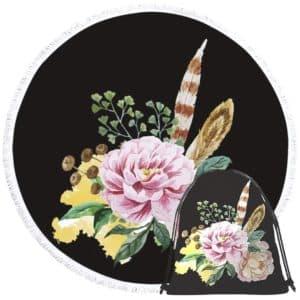 Serviette de plage ronde fleurs et plumes + sac
