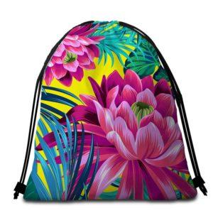 Serviette de plage ronde fleurs tropicales sac