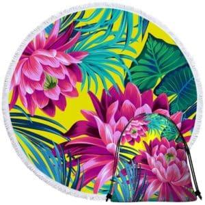 Serviette de plage ronde fleurs tropicales + sac