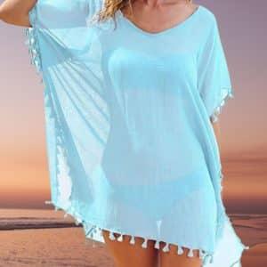 Tunique de plage à pompons bleu ciel 2