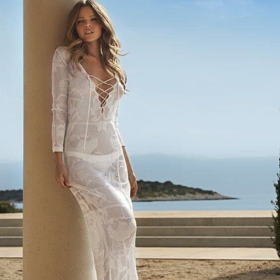 robe pareo longue en tricot blanc 2
