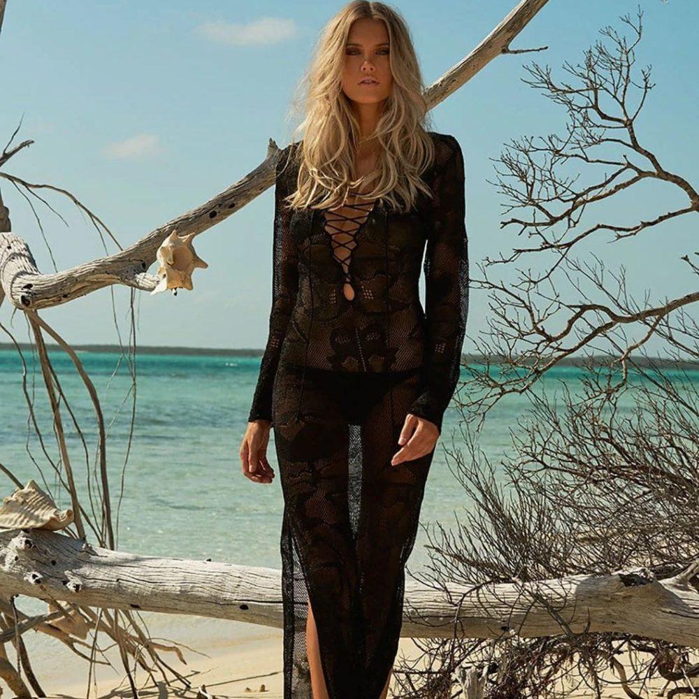 robe pareo longue en tricot noir 2