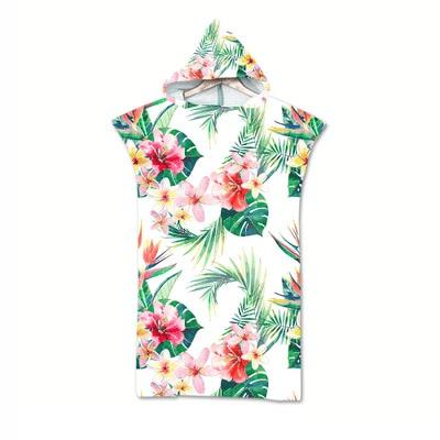 Serviette de plage à capuche tropicale fleur tropicale