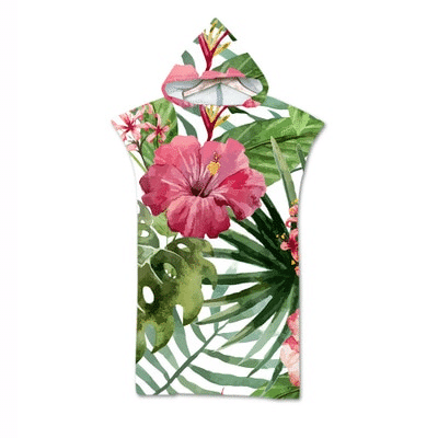 Serviette de plage à capuche tropicale fleur