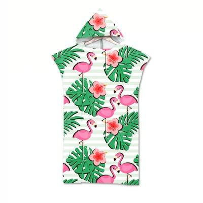Serviette de plage à capuche tropicale flamand et jungle