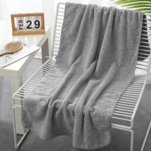 Serviette de plage en fibre de bambou gris uni