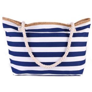 Grand sac de plage XXL en toile rayé bleu