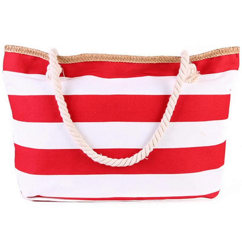 Grand sac de plage XXL en toile rayé rouge