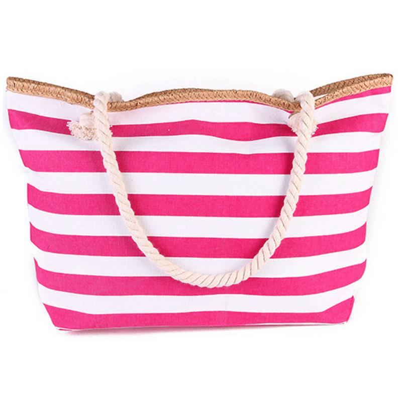 Grand sac de plage XXL en toile rayé rose